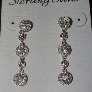 Sterling Silver CZ Dangle Earrings Halo Wedding